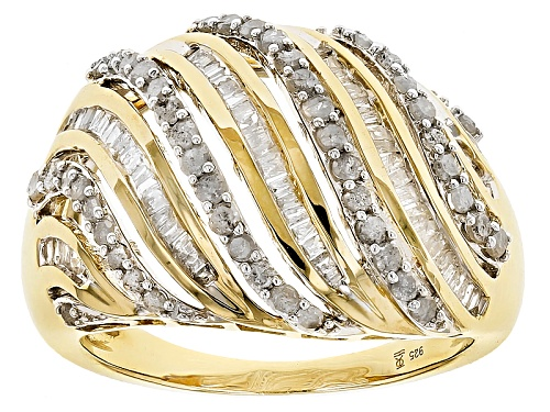 Photo of Engild™ 1.00ctw Round And Baguette White Diamond 14k Yellow Gold Over Sterling Silver Ring - Size 8