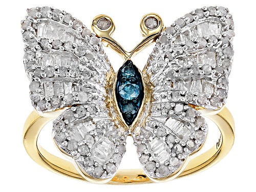 Photo of Engild™ .82ctw Round Blue And White And Baguette White Diamond 14k Yellow Gold Over Silver Ring - Size 6