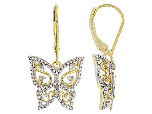 Photo of Engild™ .15ctw Round White Diamond 14k Yellow Gold Over Sterling Silver Butterfly Earrings