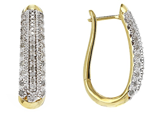 Photo of Engild™ .55ctw Round White Diamond 14k Yellow Gold Over Sterling Silver Earrings