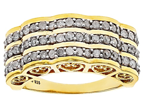 Photo of Engild™ .95ctw Round White Diamond 14k Yellow Gold Over Sterling Silver Ring - Size 6