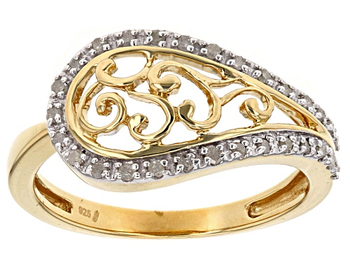 Photo of Engild™ .16ctw Round White Diamond 14k Yellow Gold Over Sterling Silver Ring - Size 8