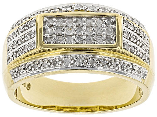 Photo of Engild™ 0.53ctw Round White Diamond 14K Yellow Gold Over Sterling Silver Mens Band Ring - Size 9