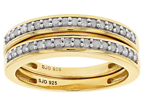 Photo of ENGILD(TM) .33ctw White Diamond 14k Yellow Gold over Sterling Silver Set of 2 Matching Band Rings - Size 10