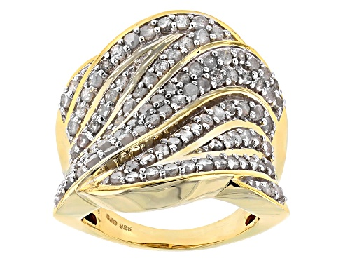 ENGILD® 2.00ctw Round White Diamond 14k Yellow Gold over Sterling Silver Ring - Size 6