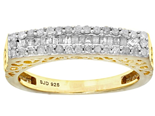 Photo of Engild™ 0.40ctw Round And Baguette White Diamond 14k Yellow Gold Over Sterling Silver Ring - Size 5