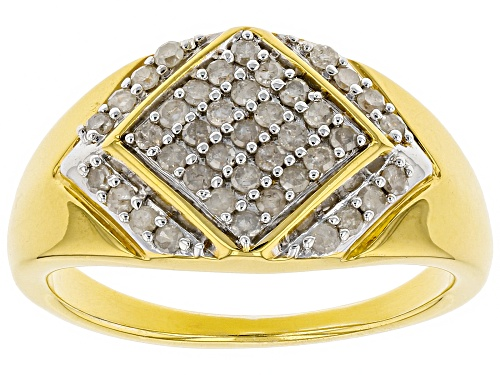 Engild™ 0.55ctw Round White Diamond 14k Yellow Gold Over Sterling Silver Mens Cluster Ring - Size 11