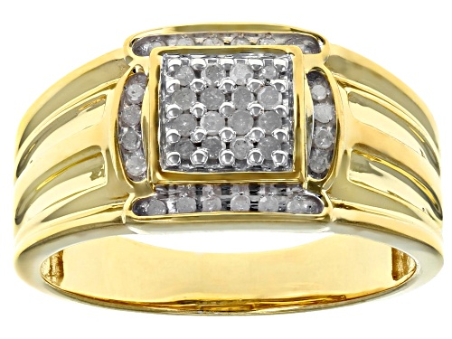 Photo of Engild™ 0.25ctw Round White Diamond 14k Yellow Gold Over Sterling Silver Mens Cluster Ring - Size 11