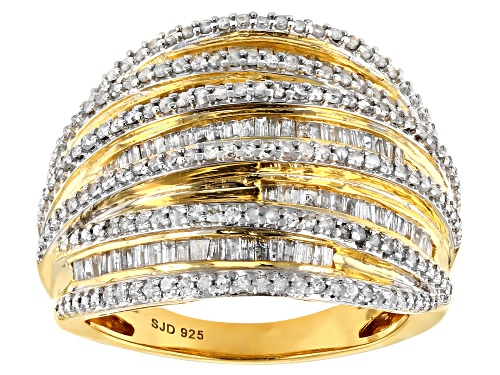 Photo of Engild™ 1.05ctw Round and Baguette White Diamond 14k Yellow Gold Over Sterling Silver Ring - Size 8
