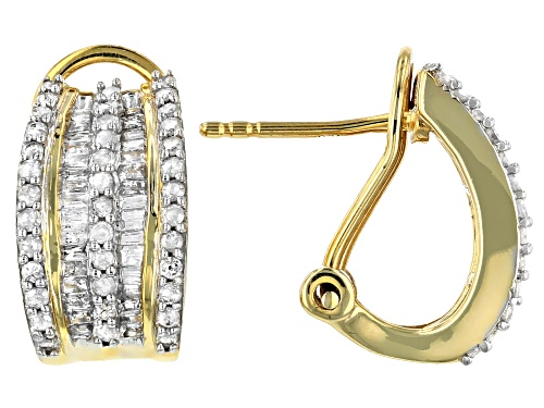 Photo of Engild™ 1.10ctw Round and Baguette White Diamond 14k Yellow Gold Over Sterling Silver Earrings