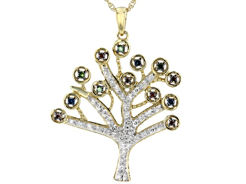 Photo of Engild™ 0.33ctw White, Red, Blue And Green Diamond 14K Yellow Gold Over Silver Pendant With Chain