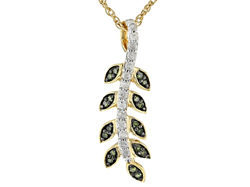 "Photo of Engild™ 0.16ctw Green And White Diamond 14K Yellow Gold Over Sterling Silver Pendant With 18"" Chain"