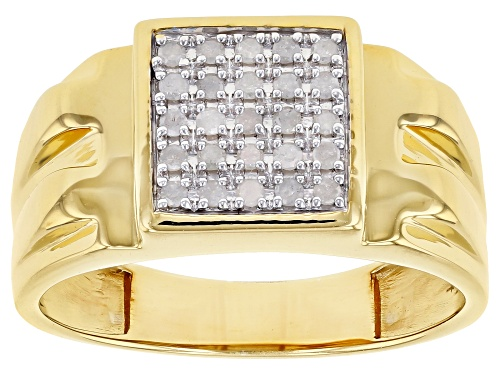 Photo of Engild™ 0.25ctw Round White Diamond 14K Yellow Gold Over Sterling Silver Mens Cluster Ring - Size 10