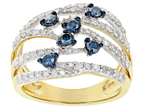 Photo of Engild™ 1.00ctw Round White And Blue Velvet Diamonds™ 14k Yellow Gold Over Sterling Silver Ring - Size 6