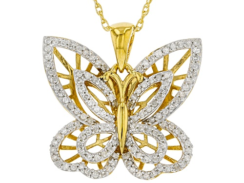 Photo of Engild™ .40ctw Round White Diamond 14k Yellow Gold Over Sterling Silver Butterfly Pendant With Chain