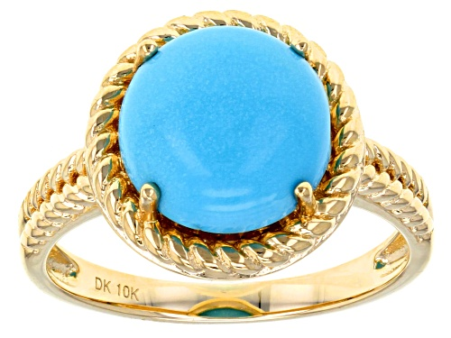 Photo of 10mm Round Blue Cabochon Sleeping Beauty Turquoise 10k Yellow Gold Ring. - Size 7