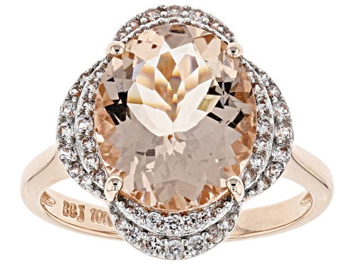 Photo of 3.79ct Oval Cor-De-Rosa Morganite™ With .22ctw Round White Zircon 10k Rose Gold Ring. - Size 8
