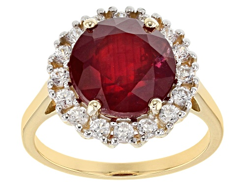 Photo of 3.75ct round Mahaleo® ruby with .70ctw round white zircon 10K yellow gold ring - Size 9