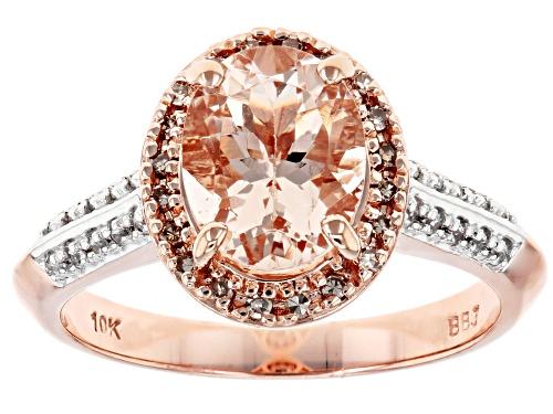 Photo of 1.44ct Cor de Rosa™ morganite, .19ctw white zircon & champagne diamond accent 10k rose gold ring - Size 7