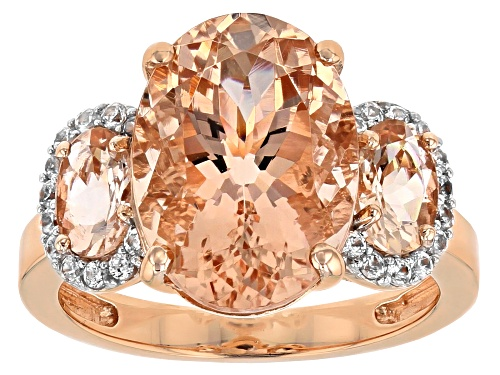 Photo of 5.19ctw oval Cor de Rosa™ morganite with .20ctw round white zircon 10K rose gold ring - Size 8