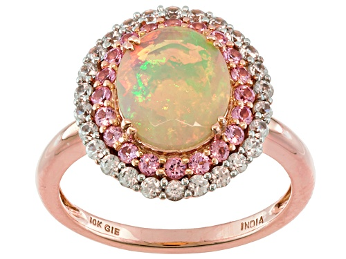 Photo of 1.30ct Oval Ethiopian Opal With .27ctw Round Pink Spinel And .51ctw White Zircon 10k Rose Gold Ring - Size 12