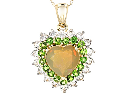 Photo of .79ct Ethiopian Opal With .39ctw Chrome Diopside And .82ctw Zircon 10k Yellow Gold Pendant W/ Chain