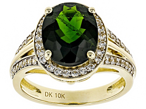 Photo of 3.15ct Oval Russian Chrome Diopside With .44ctw Round White Zircon 10k Yellow Gold Ring - Size 8
