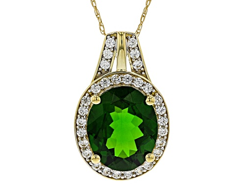 Photo of 3.15ct Oval Russian Chrome Diopside With .35ctw White Zircon 10k Yellow Gold Pendant With Chain