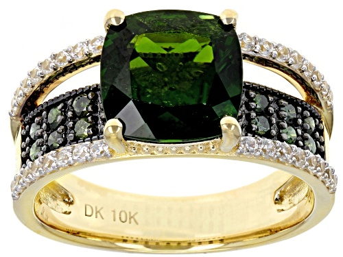 Photo of 2.76ct Square Cushion Chrome Diopside .38ctw Zircon And .30ctw Green Diamond 10k Yellow Gold Ring - Size 8