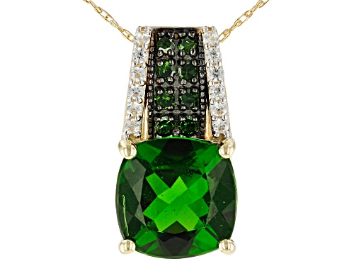 Photo of 2.93ct Square Cushion Chrome Diopside .13ctw Zircon And.12ctw Green Diamond 10k Gold Pendant W/Chain