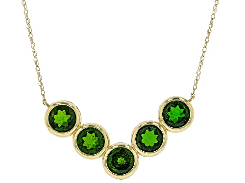Photo of 4.25tcw Round green russian Chrome Diopside 10k Yellow Gold Necklace - Size 18