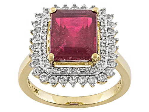 Photo of 4.25ct Emerald Cut Mahaleo® Ruby And .65ctw Round White Zircon 10k Yellow Gold Ring - Size 8