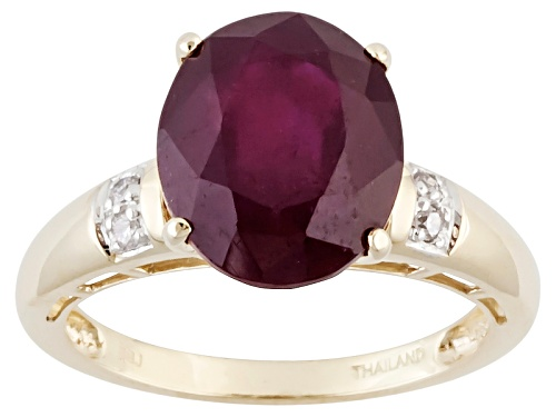 Photo of 5.95ct Oval Mahaleo® Ruby With .05ctw Four Round White  Diamond Accents 10k Yellow Gold Ring - Size 8
