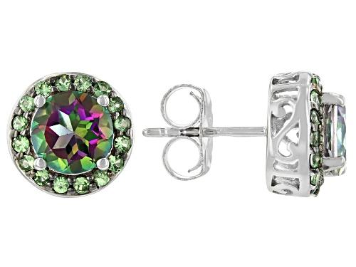 Photo of 2.80ctw Mystic Fire® Green Topaz & .44ctw Mint Tsavorite Rhodium Over Sterling Silver Stud Earrings