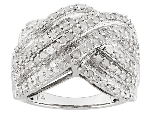 Photo of 1.50ctw Baguette And Round White Diamond Rhodium Over Sterling Silver Crossover Ring - Size 7