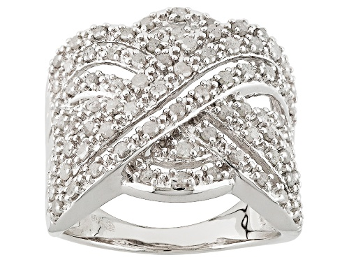Photo of 1.00ctw Round White Diamond Rhodium Over Sterling Silver Crossover Ring - Size 5
