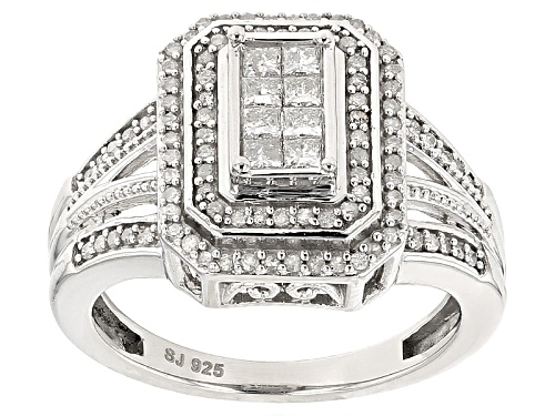 Photo of .50ctw Round And Princess Cut White Diamond Rhodium Over Sterling Silver Quad Ring - Size 6