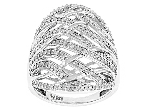 .50ctw Round White Diamond Rhodium Over Sterling Silver Ring - Size 6
