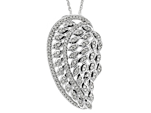 Photo of .45ctw Round White Diamond Rhodium Over Sterling Silver Pendant With A 18 Inch Rope Chain