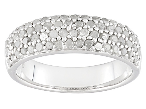 Photo of .80ctw Round White Diamond Rhodium Over Sterling Silver Band Ring - Size 6