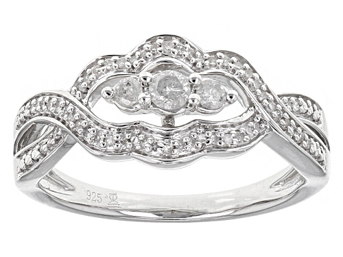 Photo of .25ctw Round White Diamond Rhodium Over Sterling Silver Cluster Ring - Size 6