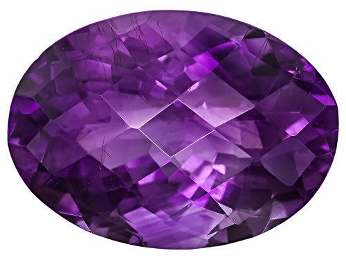 Photo of Moroccan amethyst with needles min 10.75ct 18x13mm oval checkerboard cut