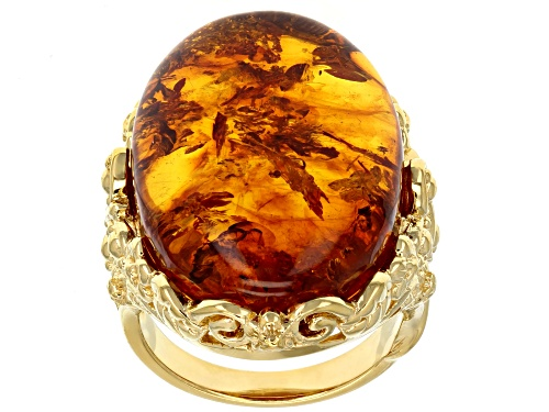 Photo of 25x18mm Oval Amber 18k Yellow Gold Over Sterling Silver Ring - Size 8