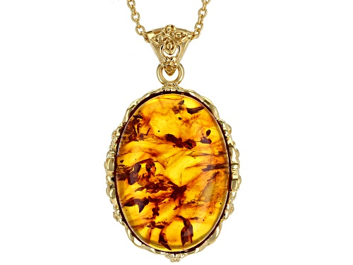 25x18mm Oval Amber 18k Yellow Gold Over Sterling Silver Pendant With Chain