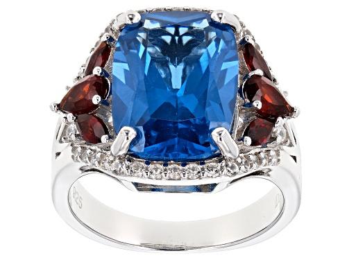 Photo of 6.97ct Lab Blue Spinel, .81ctw Vermelho Garnet™ & .36ctw White Zircon Rhodium Over Silver Ring - Size 6