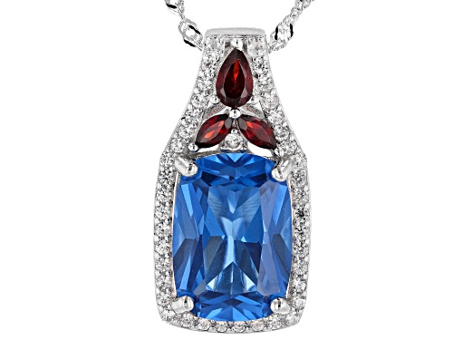 Photo of 7.73ctw Lab Blue Spinel, Vermelho Garnet™ & White Zircon Rhodium Over Silver Pendant With Chain