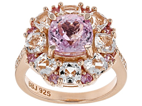 Photo of 4.32ctw kunzite, Crystal quartz, pink sapphire & diamond accent 18k rose gold over silver ring - Size 7
