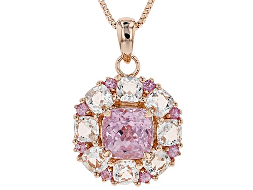 Photo of 2.65ct kunzite, 1.63ctw Crystal quartz & pink sapphire 18k rose gold over silver pendant w/chain