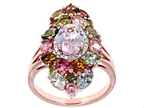 Photo of 1.49ct Kunzite With 2.18ctw Multi-Tourmaline & .02ctw Diamond Accent 18k Rose Gold Over Silver Ring - Size 8