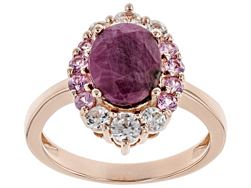 Photo of 2.12ct Indian Ruby With .29ctw Pink Sapphire & .60ctw White Zircon 18k Rose Gold Over Silver Ring - Size 8